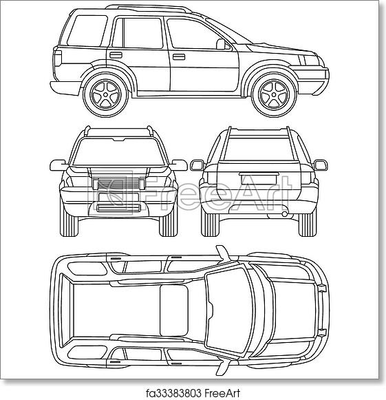 picture regarding Free Printable Vehicle Condition Report Template titled Cost-free artwork print of Vehicle truck, suv, 4x4, line attract, hire hurt, scenario short article sort blueprint, all check out, 4 viewpoint