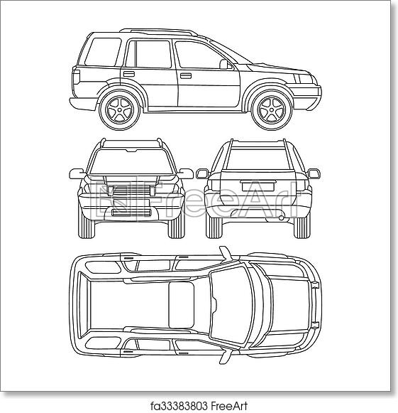 Free Art Print Of Car Truck Suv 4x4 Line Draw Rent Damage