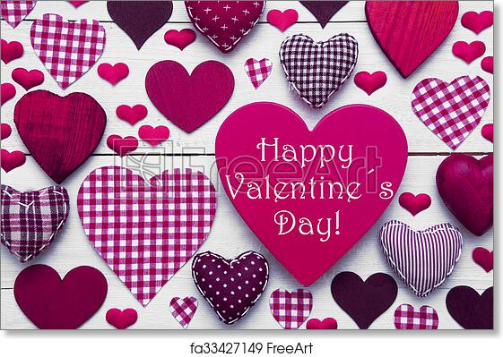 Free Art Print Of Pink Hearts Texture Text Happy Valentines Day