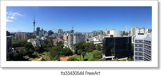 free art print of panoramic view of auckland city skyline - new ...