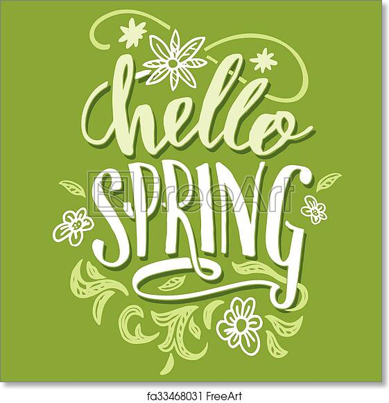 Free art print of hello spring brush calligraphy card