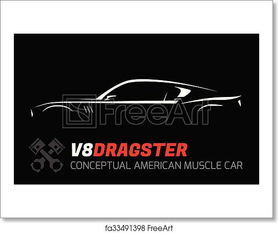 Free Art Print Of Concept V8 Muscle Car Silhouette Conceptual V8
