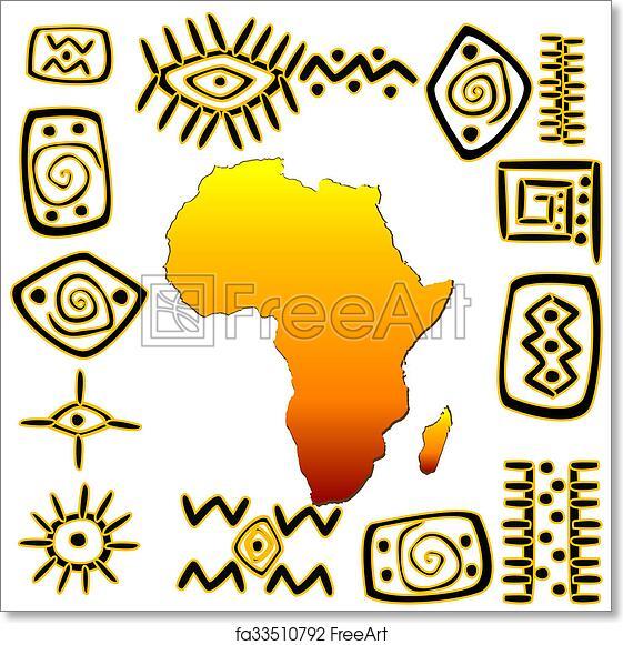 free art print of african symbols set african symbols set with