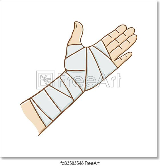 Free Art Print Of Injured Hand Wrapped In Elastic Bandage Vector