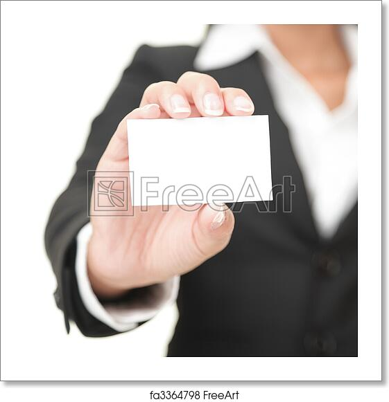 free art print of business card businesswoman holding blank sign