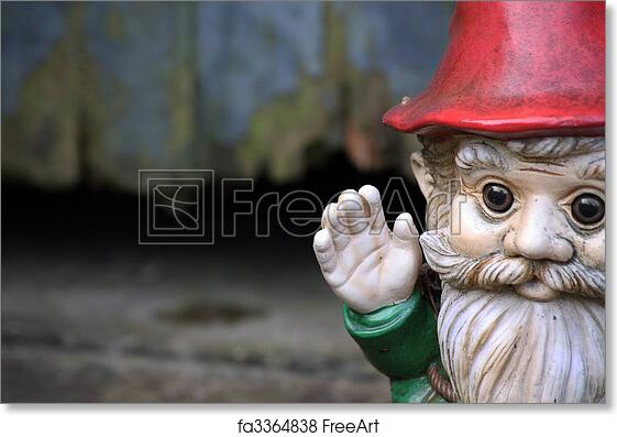 Delightful Free Art Print Of Gnome. A Bearded Garden Gnome On A Landscape Format Set  To The Right Of The Image Waving His Hand. Set Against A Wooden Garden Shed  Door.