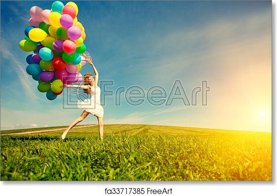 Free Art Print Of Happy Birthday Woman Against The Sky With Rainbow Colored Air Balloons In Her Hands Sunny And Positive Energy Nature
