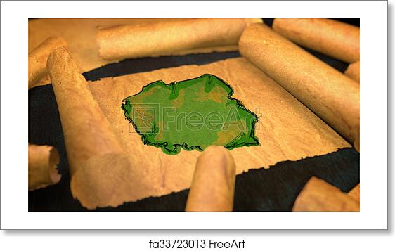 Free art print of Poland Map Painting Unfolding Old Paper Scroll 3D