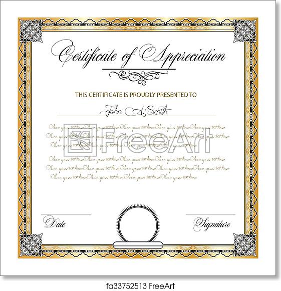 Free art print of Vintage certificate of appreciation with ornate ...