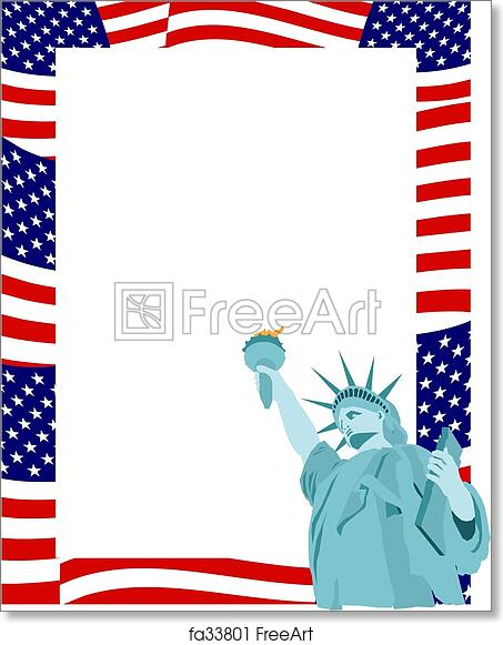 Free art print of Patriotic Border. American flag and statue of ...