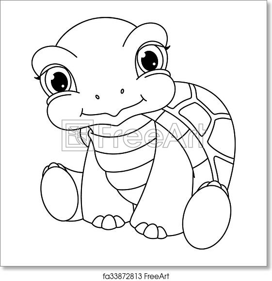 Baby turtle coloring page - photo#5