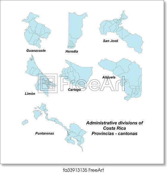Free art print of Map of provinces in Costa Rica
