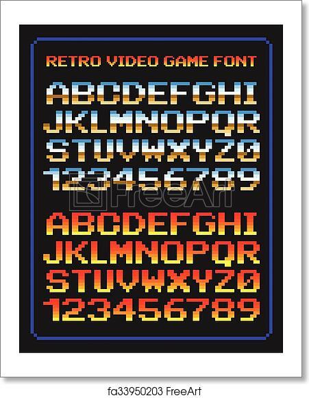 free art print of retro video game font