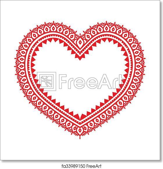 Free Art Print Of Heart Red Mehndi Design Indian Hen Vector Heart