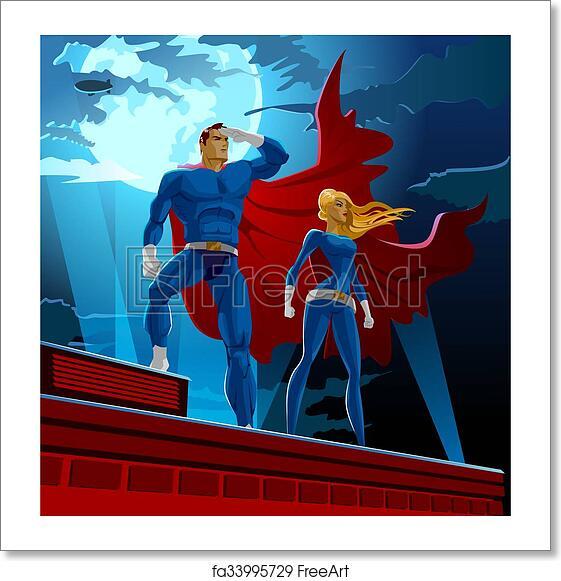 free art print of superhero couple male and female superheroes