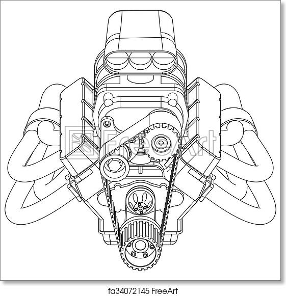 Free art print of Hot Rod Engine. Schematic drawing of Hot