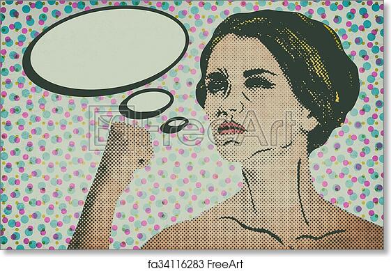 free art print of pop art comic style woman with speech bubble pop