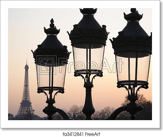 Old Room At Dusk: Free Art Print Of Three Lamps In Paris. Three Unlit Street