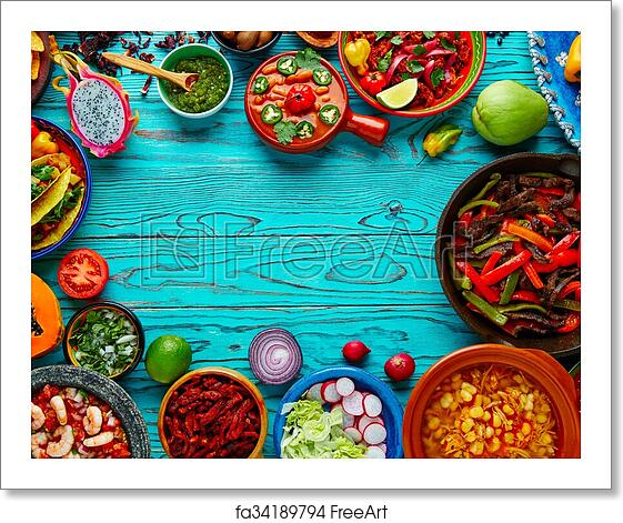 Free art print of Mexican food mix colorful background ...