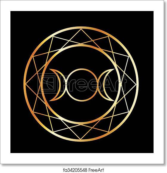 Free Art Print Of Gold Wiccan Symbol Triple Goddess Freeart