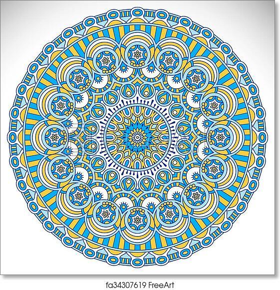 7e352e293e17f Free art print of Indian Mandala. Ornament beautiful card with mandala.  Geometric circle element | FreeArt | fa34307619