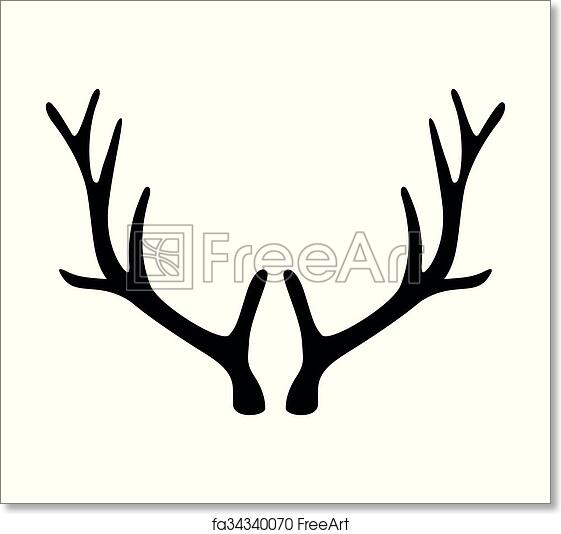 graphic about Printable Deer Antlers identified as Free of charge artwork print of Deer antlers. Horns icon isolated upon white historical past.
