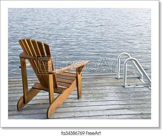 Fine Free Art Print Of One Muskoka Chair By The Lake Bralicious Painted Fabric Chair Ideas Braliciousco