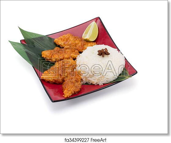 Free Art Print Of Rice With Fish In Bread Crums Isolated On White Background