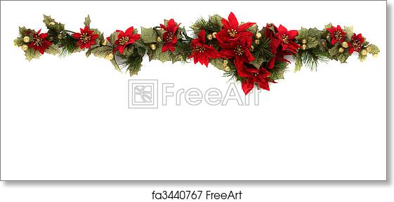 Free art print of Poinsettia and christmas decoration border, side border