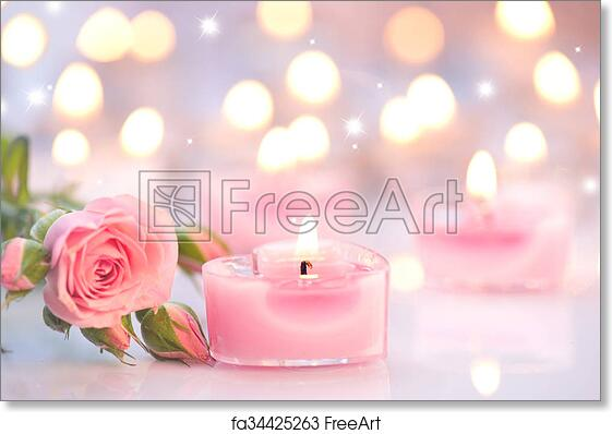 Free art print of valentines day pink heart shaped candles and free art print of valentines day pink heart shaped candles and rose flowers mightylinksfo