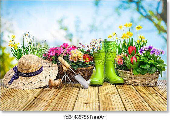 Free Art Print Of Gardening Tools And Flowers On The Terrace