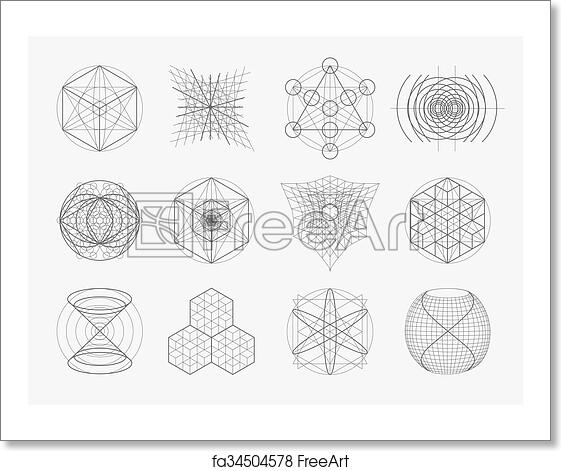 Free art print of Sacred geometry symbols and elements set