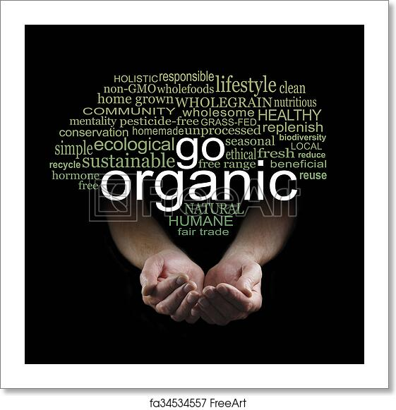 free art print of go organic campaign poster male cupped hands on a