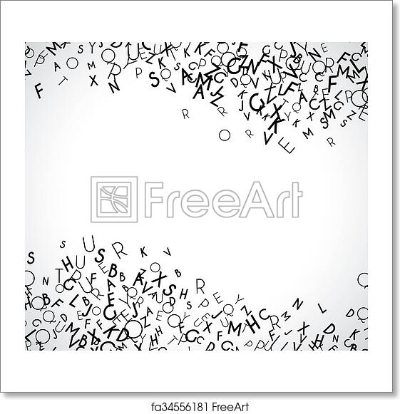 free art print of abstract black alphabet ornament frame isolated on