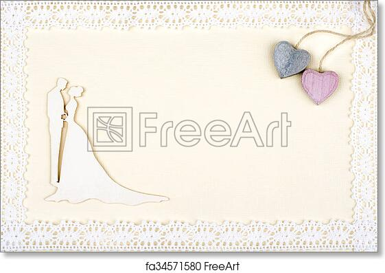 Free art print of White wedding card. Bride and groom silhouette on ...