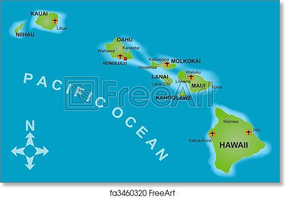 photo relating to Printable Map of Kauai identified as Totally free artwork print of Map of Hawaii
