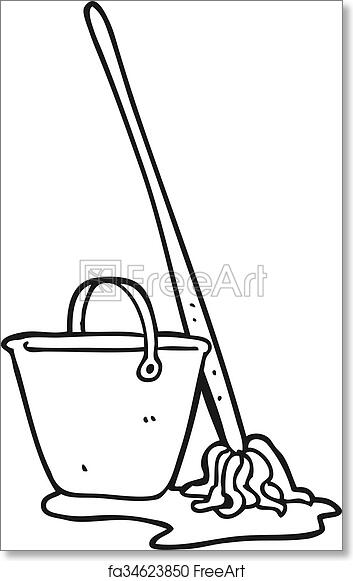 Free Art Print Of Black And White Cartoon Mop And Bucket Freehand