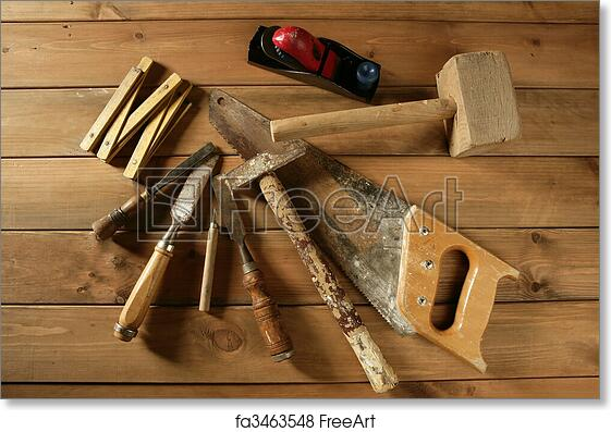 Free Art Print Of Carpenter Tools Saw Hammer Wood Tape Plane Gouge