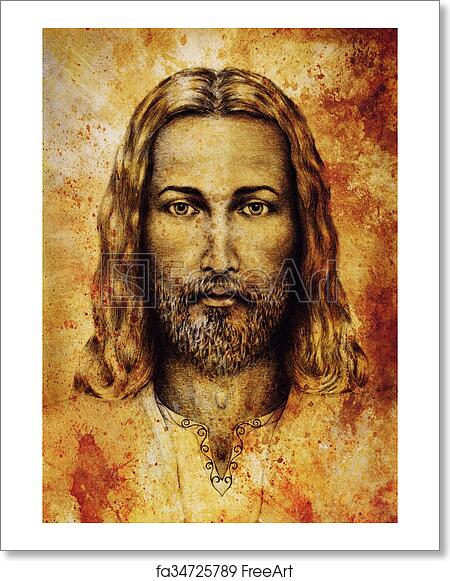 free art print of pencils drawing of jesus on vintage paper with