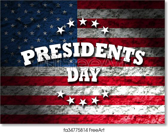 free art print of presidents day usa card with american flag