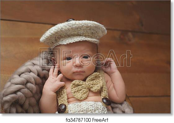 8f99cce2 Free art print of Newborn Baby Boy Wearing a Newsboy Cap and Bowtie ...