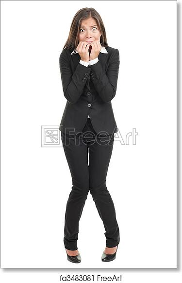 Free Art Print Of Nervous Scared Businesswoman