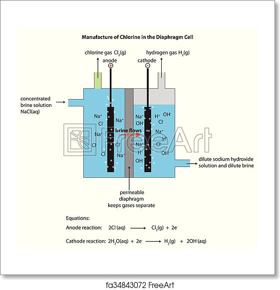 diagram for the industrial manufacture of chlorine in the diaphragm cell