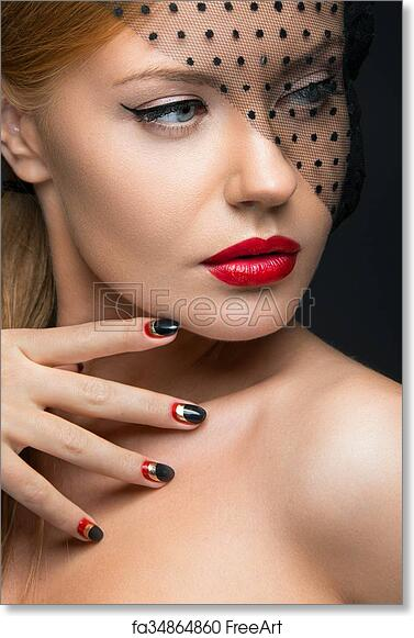 Free art print of Beautiful girl with a veil, evening makeup, black and red nails. Design manicure. Beauty face.   FreeArt   fa34864860