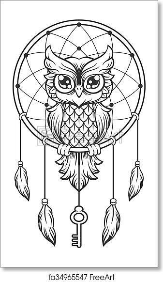 Free Art Print Of Dream Catcher Black And White Owl Dream Catcher