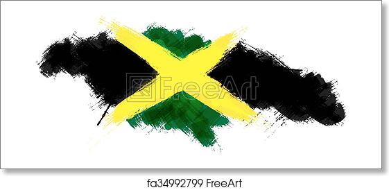 Free art print of Grunge map of Jamaica with Jamaican flag