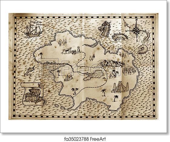 Pirate Treasure Map Rug: Free Art Print Of Pirate Treasure Map. Old Treasure Map