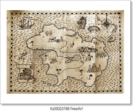 Free art print of Pirate treasure map Images Of A Treasure Map on a map of life, a map of love, a map of home, a map of cascade, a map of roosevelt, a map of jupiter, a map of sahara, a map of time, a map of ocean, a map of odyssey,