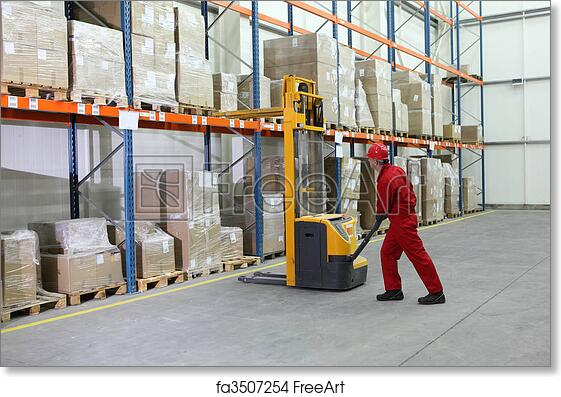 Free art print of Manual forklift operator at work in warehouse