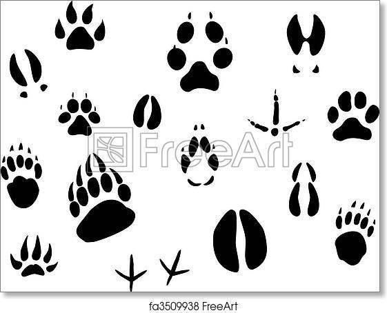 photo relating to Printable Animal Footprints titled No cost artwork print of Animal footprints